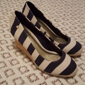 LifeStride nautical striped cork wedges size 8
